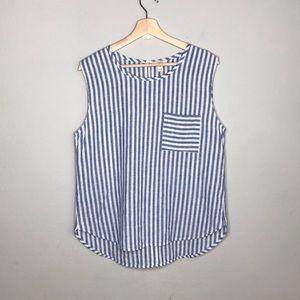 J.CREW FACTORY linen cotton blend striped blouse